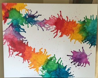 Rainbow Melted Crayon Art Piece