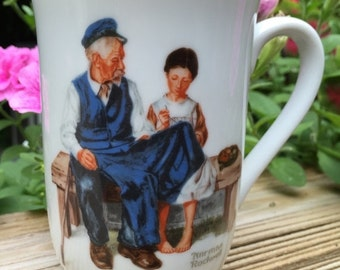 CIJ Mug Norman Rockwell Cup Lighthouse Keepers Daughter Seal of Authenticity Never Used Only Displayed Japan