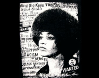 Womens Angela Davis Black Fitted Crew Neck T-shirt | Afro Tees | Black Panther | Free Shipping