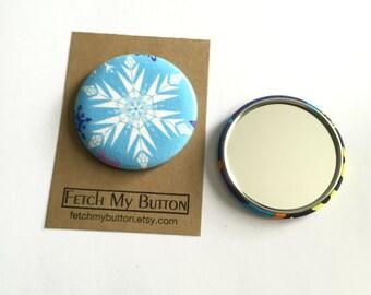 Snowflake fabric pocket mirror - 2.25 inches