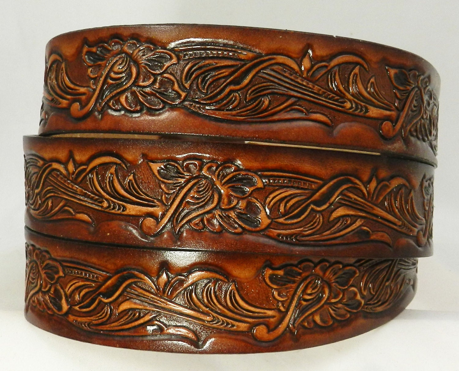 Bt940 Leather 1 1 2 Belt Western Carved Design