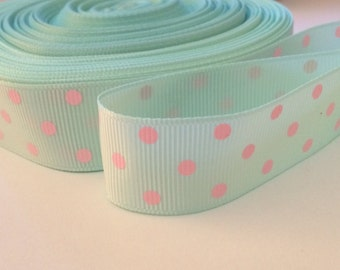 2 Yards Mint Green Blue Pink Polka Dot Grosgrain Ribbon 22mm 7/8""
