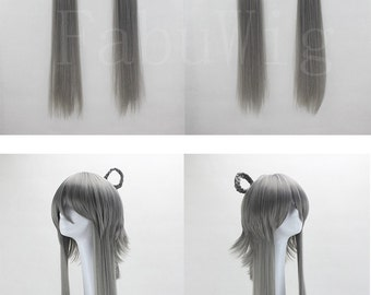 "39"" Long Straight Wig Grey VOCALOID Luo Tianyi Cosplay Hairpiece For Women"