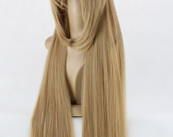 """27"""" Long Straight Wig Khaki with Bunches Lolita Cosplay Hairpiece For Women"""