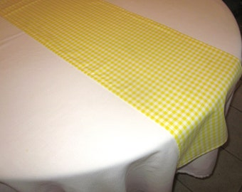 Yellow and White Gingham Table Runner, Wedding, Bridal Shower, Baby Shower, Birthday Party