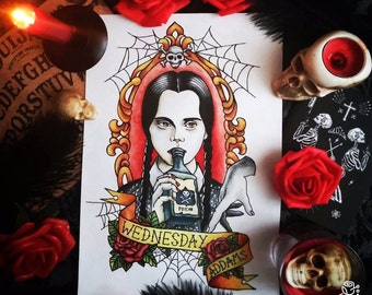 Original painting and prints! Wednesday Addams Tattoo Flash