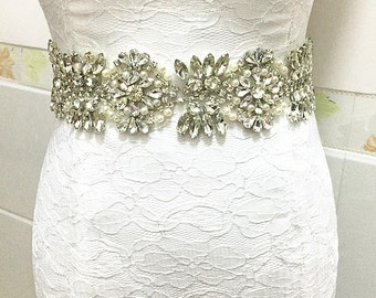 Rhinestone Applique Crystal Beaded Bridal Applique for Bridal Sash Wedding Belt