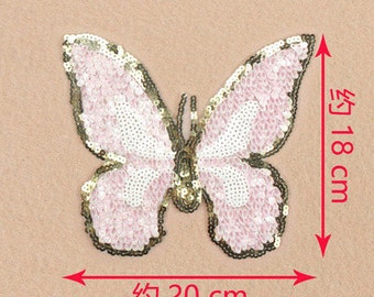 Butterfly sequined applique patch Vintage embroidered patch T-shirt or Bag decoration patch