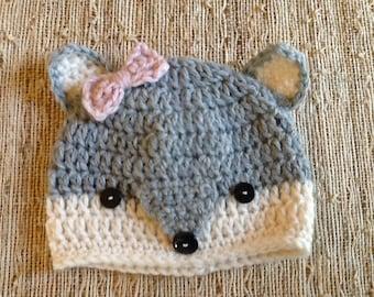 Crocheted fox beanie, woodland animal hat, crocheted baby girl hat, fox hat, baby photo prop, baby gift, baby accessory,
