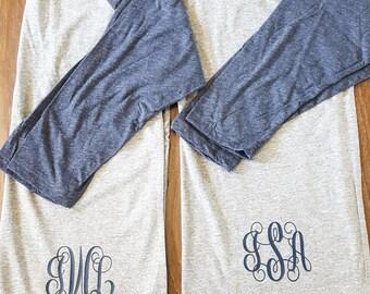 Raglan Monogram Baseball Shirt - Soft - Preppy - Cute