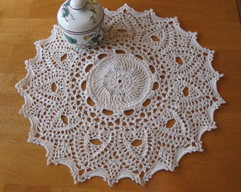 New hand-crocheted ivory/off-white doily doilie