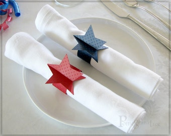4th of July , Red White and Blue , Napkin Rings , Stars , Party Supplies  Paper Napkin Rings , American Flag Table Decorations , Set of 10