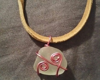 Pink wire wrapped sea glass necklace