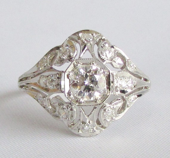 Filigree Art Deco Diamond Cocktail Ring or Engagement Ring