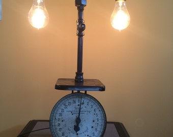 Antique scale steampunk lamp