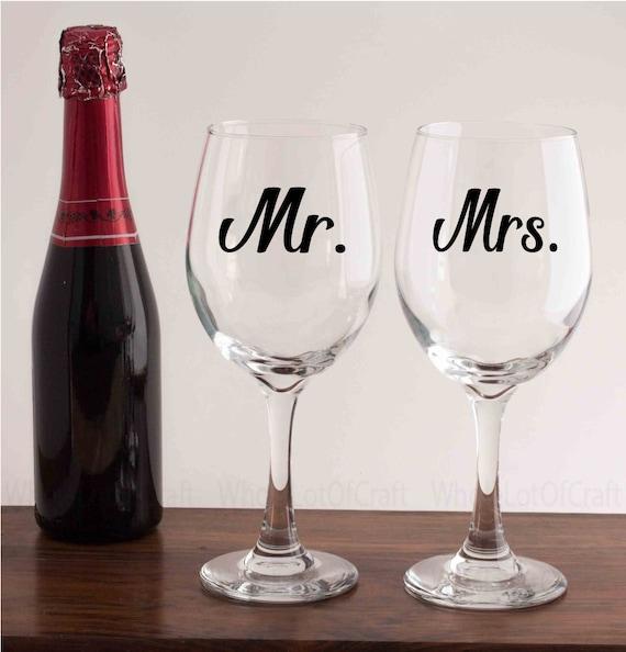 Wedding Gifts Wine Glasses : Wine GlassesMr and Mrs GlassesWedding GiftAnniversary Gift ...