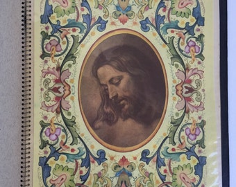 Vintage Spiral Notebook with Religious Prints