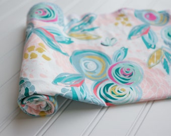 Knit Swaddle Receiving Blanket: Light Pink, Mustard, Fuchsia, Mint, Teal Peony Floral Blanket