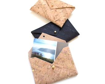 Cork Business Card Wallet, Vegan Leather Business Card Holder, Business Card Case - Ready to Ship!