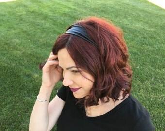 Thin Black Pleather Stretchy Headwrap Headband, No Slip Headband, Women's Headwrap, Skinny Headband