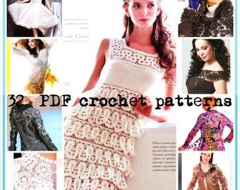 Crochet Patterns. E-book. Instant Download PDF.  Coats, Jacket, Dress,Skirt,Top. Freeform, Irish Lace.Fall Issue Journal Mod #542