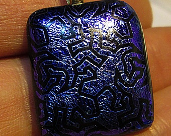 Dichroic Glass Pendant Blues and Purples