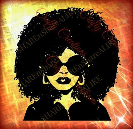 Afro Svg Diva Natural Curly Hair Woman Beautiful Face Makeup