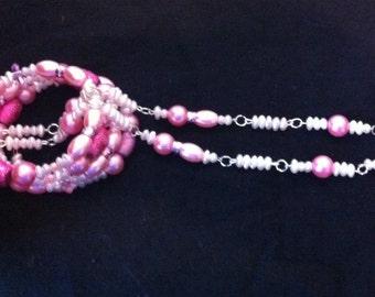 Pink Jewelry Gift Set, 2 Piece Set, Pink Beaded Earrings, Pink Beaded Memory Wire Bracelet, Gift Set, Pink Jewelry Gift Set