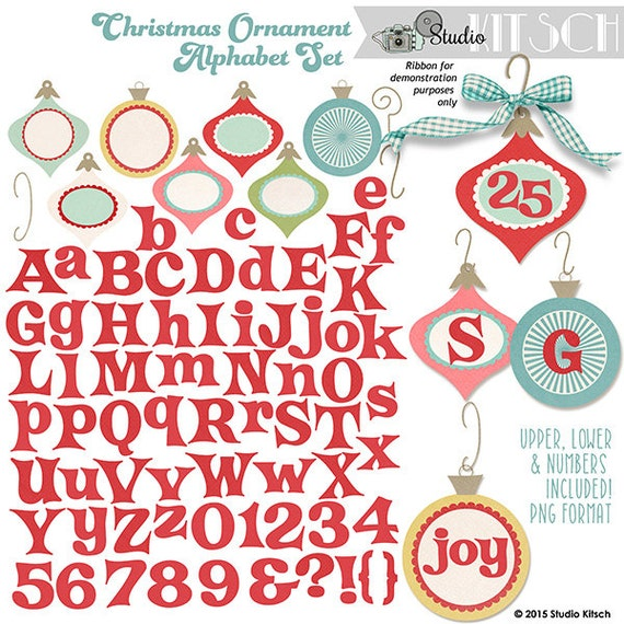Christmas Ornament Alphabet Clip-Art Christmas Graphics CU