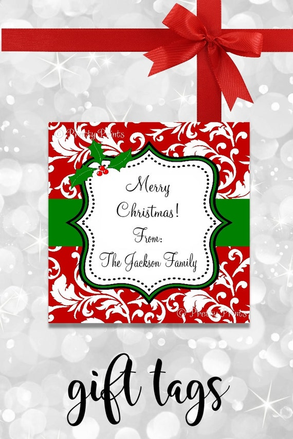 Christmas Gift Tags - Red Floral Tags -  Printable gift tags - Personalized Christmas Tags - Christmas Tags - Tags