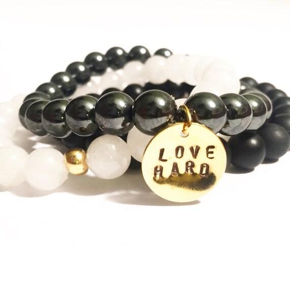 Love Hard Gemstone 3 stack (white jade, onyx & hematite) protection, good fortune bracelets, beads, stackable, women, men