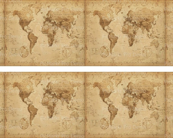 Old World Map - Designer Strips - Edible Cake Side Toppers- Decorate The Sides of Your Cake! - D20773