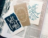 ON SALE Mini Scripture cards, stocking stuffer, set of 9, encouragement cards, bible verse art, pass it on