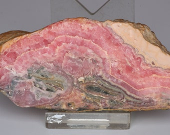 Gorgeous Large Banded Polished Rosy Pink Rhodochrosite