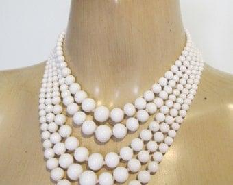 NECKLACE 5 Strand White Milk Glass Genuine 1950's VINTAGE Choker Graded Beads Retro