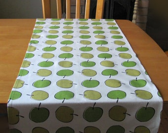 "18"" x 58"" White Cotton Table Runner with Green Apples; Swedish Design White & Green Modern Table Linens with Apple Print; Apple Table Topper"