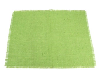 "Lime Glitter Burlap Table Placemats 14"" x 18"" Pack of 6, Great for the Holidays, fringed edges (BFG-P50A)"