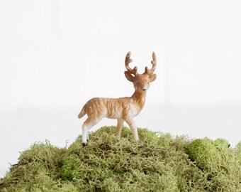 Vintage Tiny Plastic Deer Figurine, Plastic Miniature Terrarium Accessories
