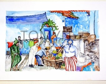 Chefchaouen. Northwest Morocco. Marketplace.  Original watercolor painting