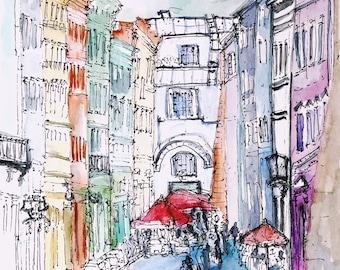 Dzyga. Lviv. original watercolor sketch.