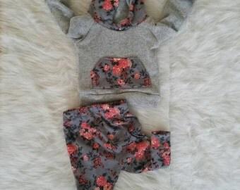 Grey floral hoodie set, newborn hospital outfit, coming home outfit, peach and grey floral hoodie, grey floral hoodie, baby girl outfit