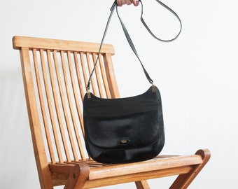 Vintage Bally bag / black leather shoulder bag