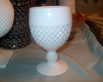 6 Vintage Westmoreland Milk Glass Goblets, English Hobnail, Glasses  (Price for All)