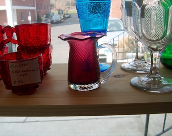 Vintage Cranberry Glass Pitcher Small, WAS 15.00 - 20% = 12.00