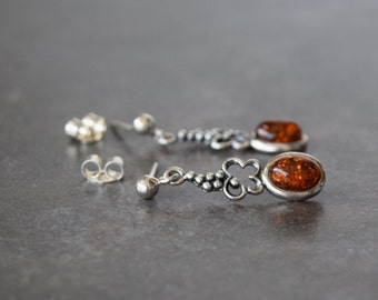 925 silver pendant earrings with amber