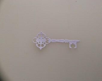 15 die cut white glitter keys