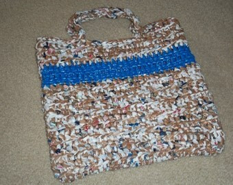 Tote made from recycled plastic bags (plarn). Brown/white with blue stripe....Free shipping!