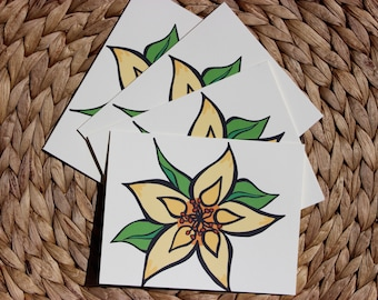 "Yellow Wildflower Cards - 4 Pack - A2 (4.25""x5.5"") Blank Inside"