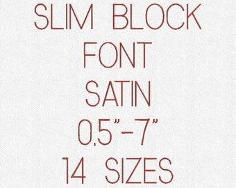 SLIM BLOCK  Font 14 Sizes Embroidery Design