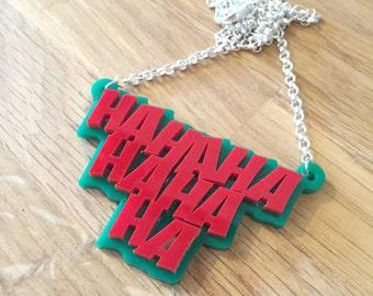 Joker laughter laser cut jewellery necklace
